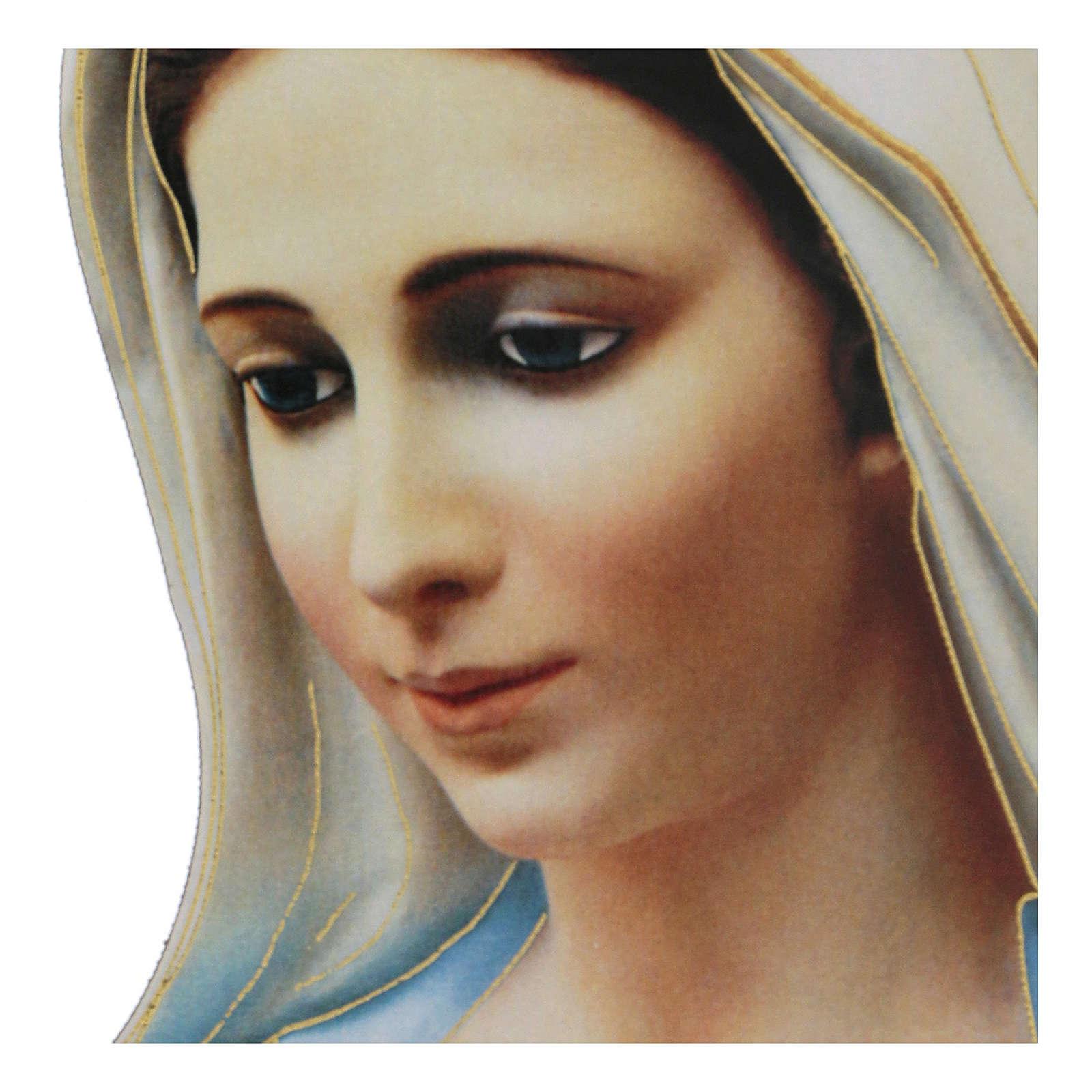 Immagine sagomata Madonna Medjugorje dettagli oro 4
