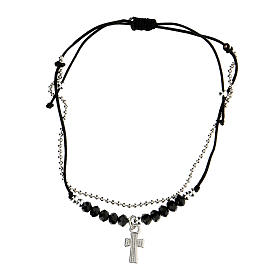 Bracelet réglable Médjurogje noir croix strass s2