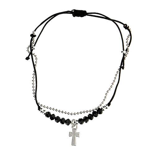 Bracelet réglable Médjurogje noir croix strass 2