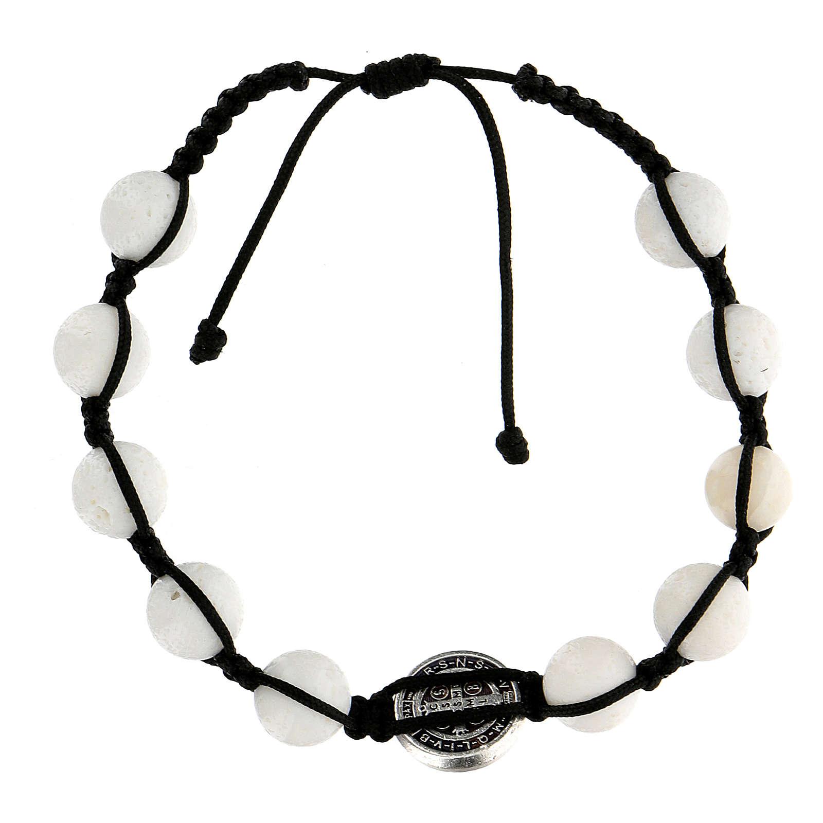 Bracciale corda 10 palline pietra levigata medaglietta Medjugorje 4