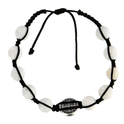 Bracciale corda 10 palline pietra levigata medaglietta Medjugorje 2