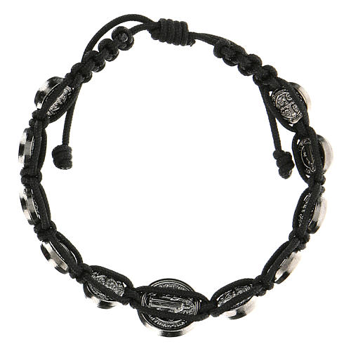 Bracelet corde médailles Saint Benoît Medjugorje 2