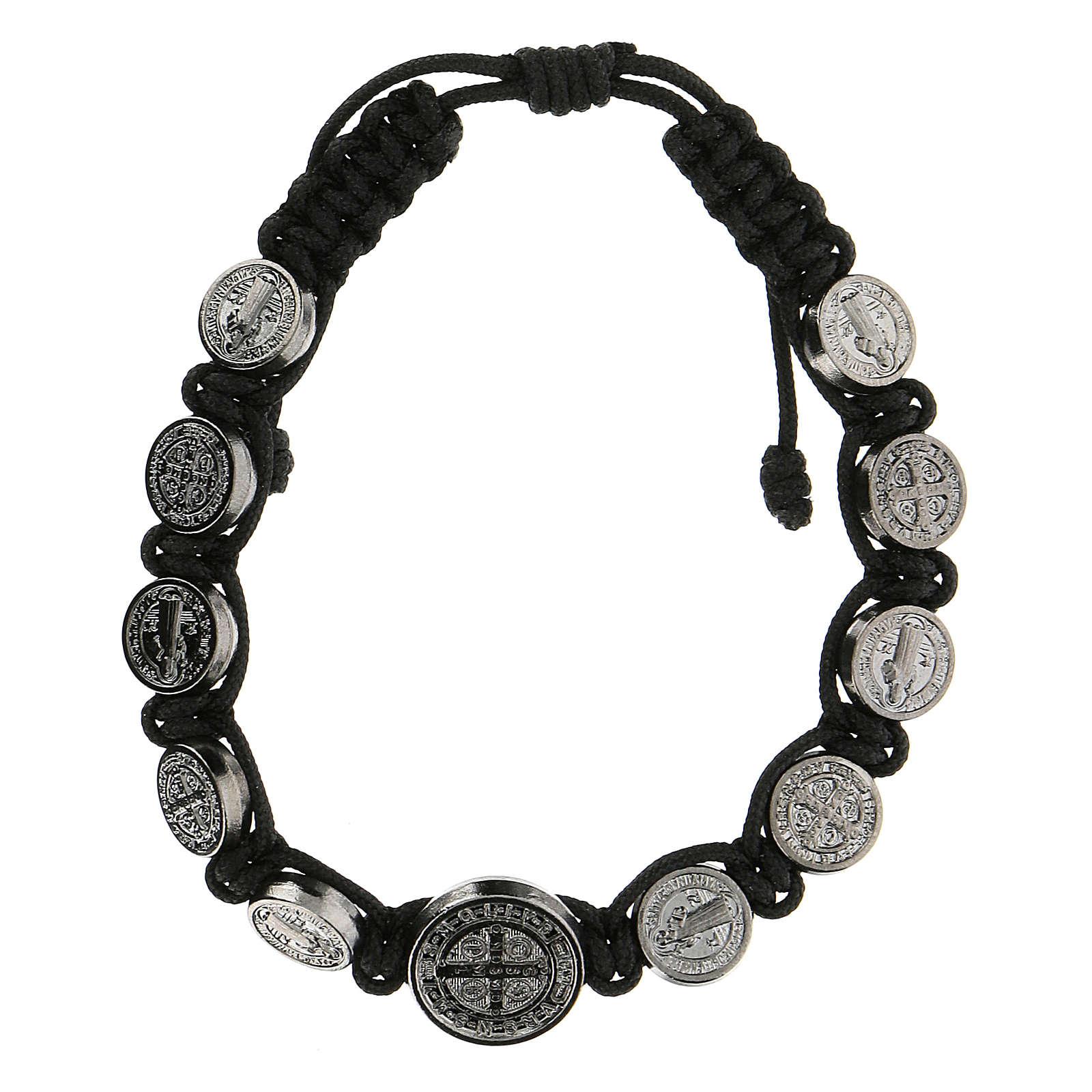 Bracciale corda medagliette San Benedetto Medjugorje 4