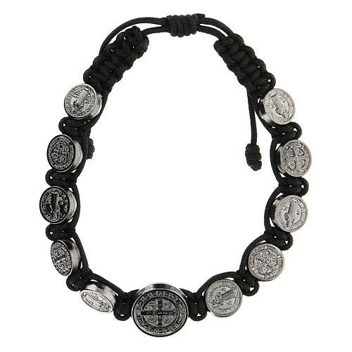 Bracciale corda medagliette San Benedetto Medjugorje 1