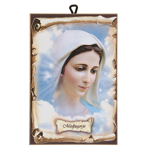 Our Lady of Medjugorje picture hardboard 15x10 cm 1