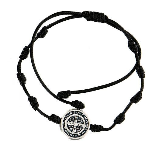 Bracelet corde médaille Saint Benoît Medjugorje 2
