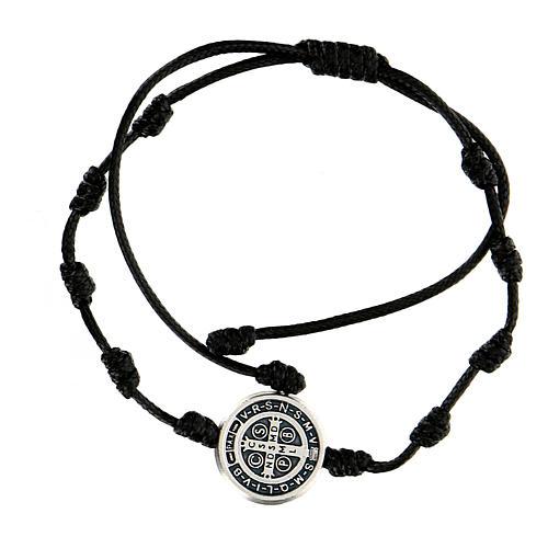 Bracciale corda medaglia San Benedetto Medjugorje 2
