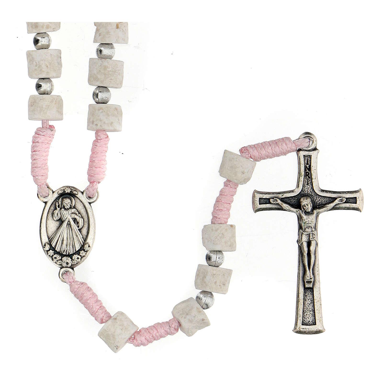 Rosario pietra bianca rosa Medjugorje 4