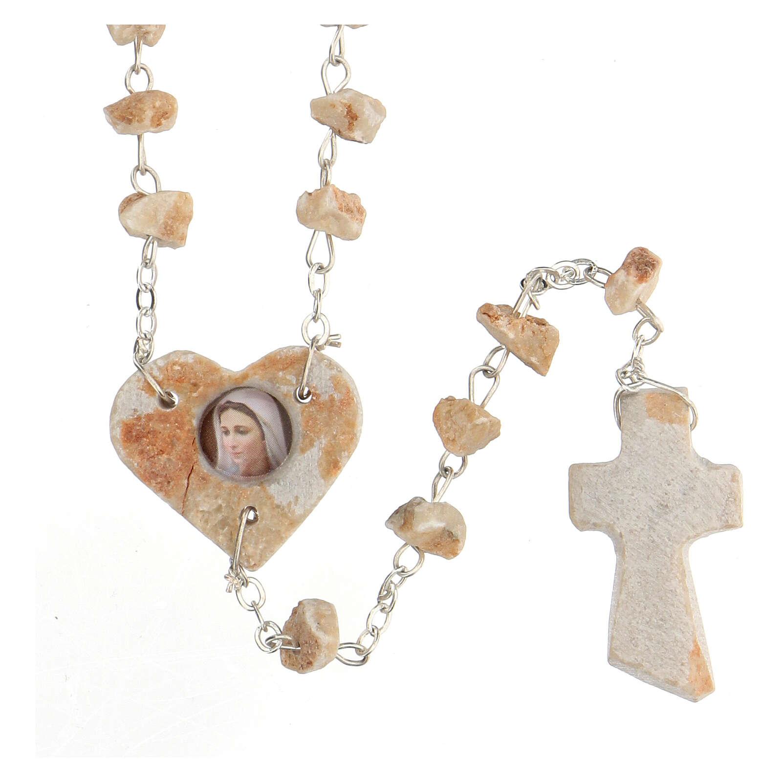 Rosario pietra rossa Medjugorje cuore immagine Madonna 4