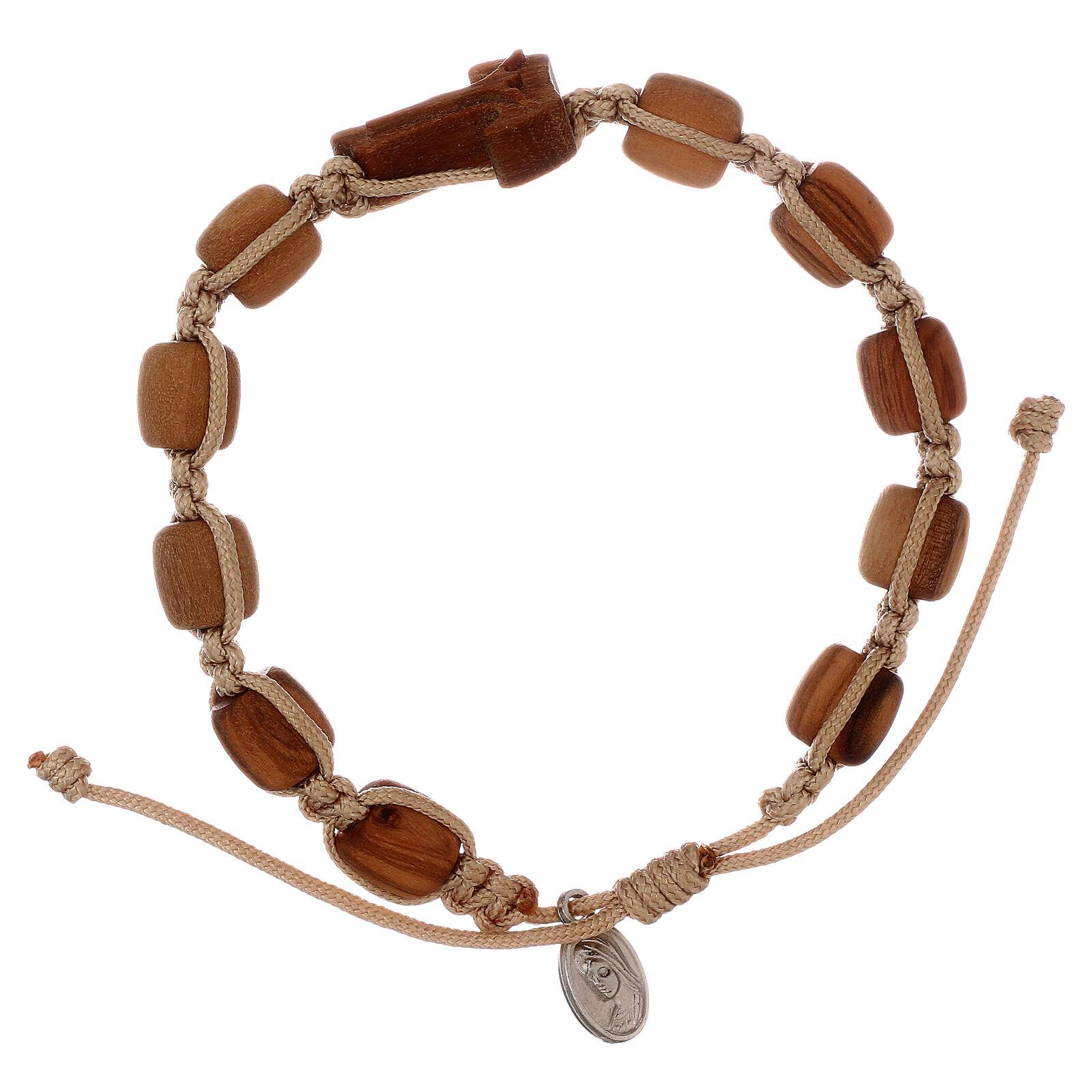 Bracciale legno con croce Tau Medjugorje 4