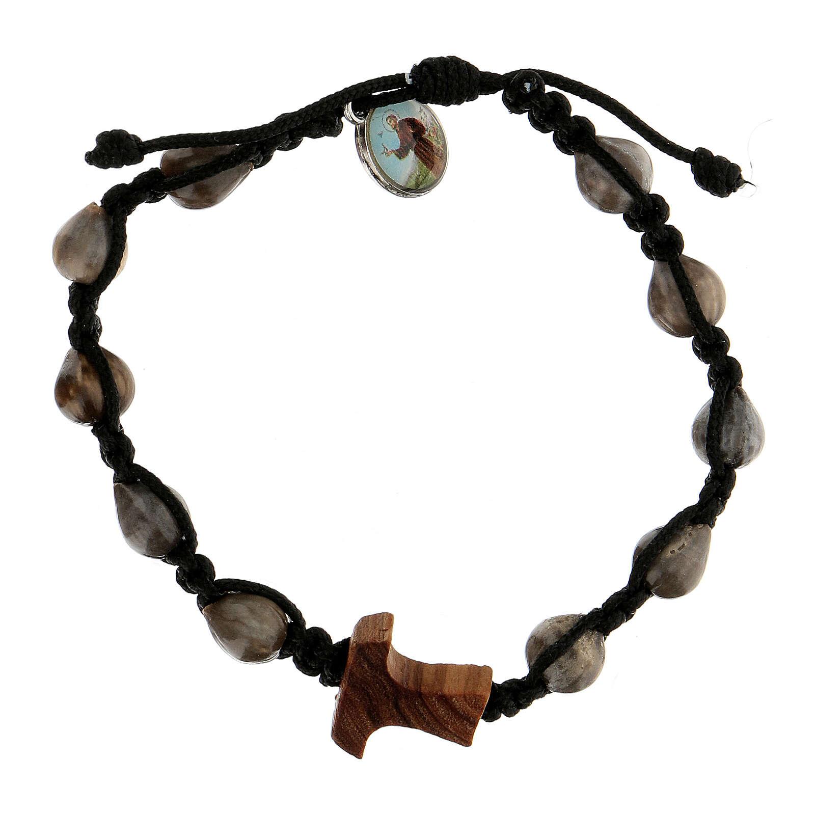 Job's Tear Medjugorje bracelet with tau in olive tree, black rope and medallion 4
