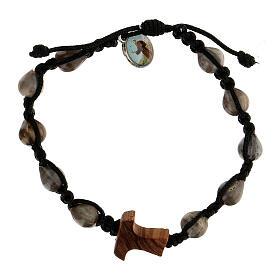 Job's Tear Medjugorje bracelet with tau in olive tree, black rope and medallion s1