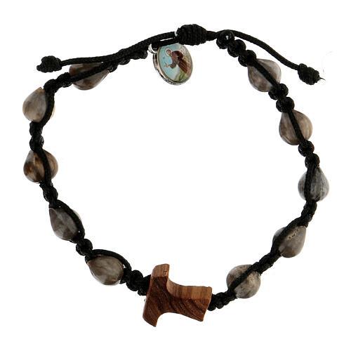 Job's Tear Medjugorje bracelet with tau in olive tree, black rope and medallion 1