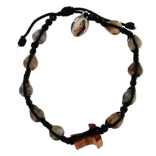Job's Tear Medjugorje bracelet with tau in olive tree, black rope and medallion 2
