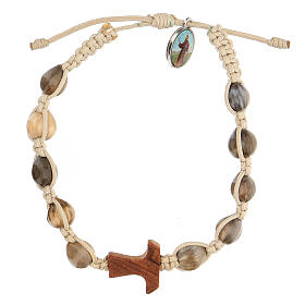 Bracelet made by artisans from Medjugorje, in turtledove rope, with tau in olive tree s1
