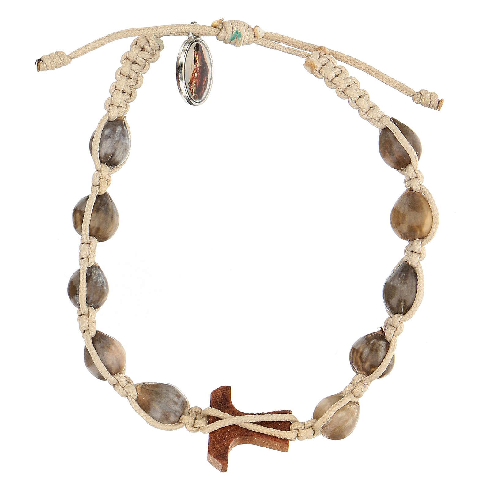 Bracelet Medjugorje Larmes-de-Job tau olivier corde beige 4