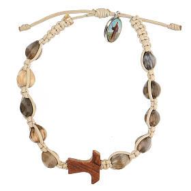 Bracelet Medjugorje Larmes-de-Job tau olivier corde beige s1