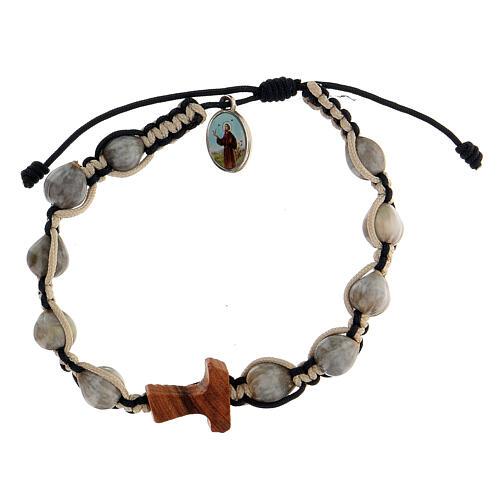 Bracelet Medjugorje Larmes-de-Job tau olivier corde beige 3