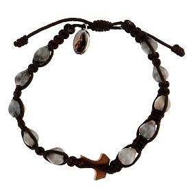 Handmade bracelet made in Medjugorje, Job's Tear, brown rope and religious medal s2