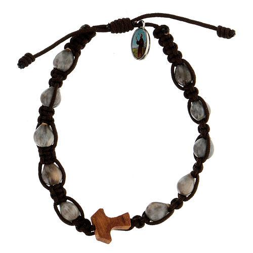 Handmade bracelet made in Medjugorje, Job's Tear, brown rope and religious medal 1