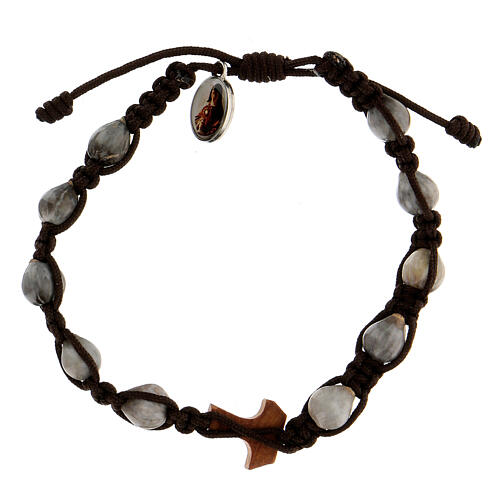 Bracelet corde Medjugorje tau olivier médaille Larmes-de-Job 2