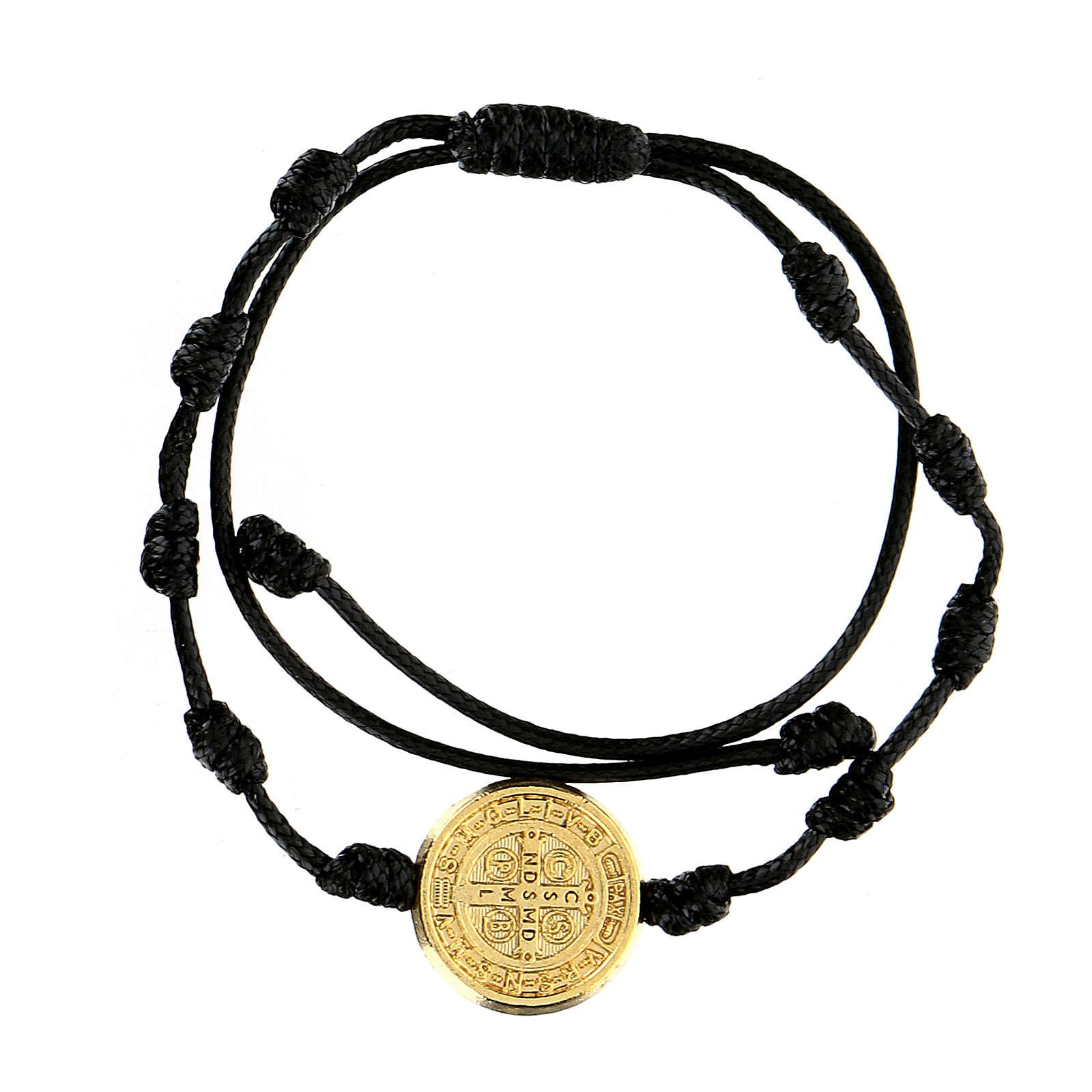 Pulsera cuerda Medjugorje medalla San Benito oro 4