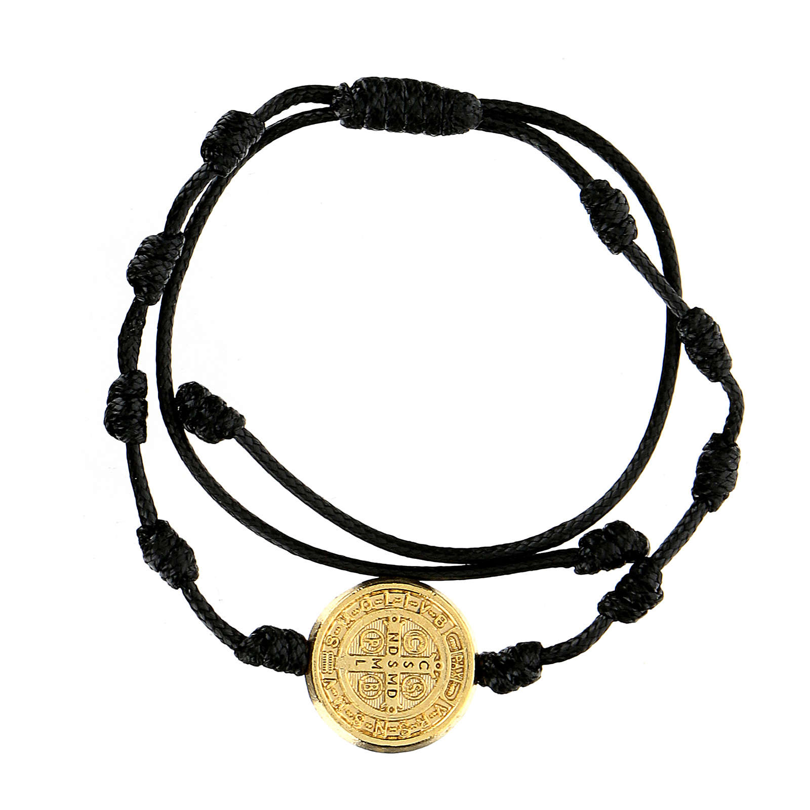 Bracciale corda Medjugorje medaglietta San Benedetto oro 4