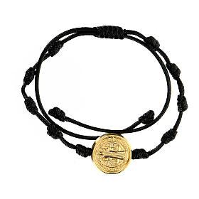 Bracciale corda Medjugorje medaglietta San Benedetto oro s2