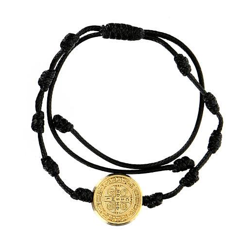 Bracciale corda Medjugorje medaglietta San Benedetto oro 1