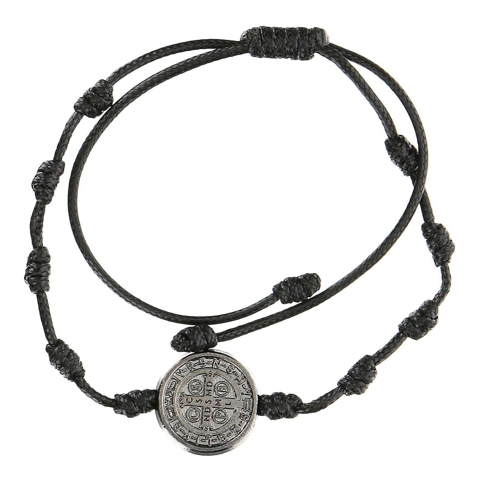 Pulsera ajustable Medjugorje Medalla San Benito negra 4