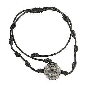 Pulsera ajustable Medjugorje Medalla San Benito negra s1
