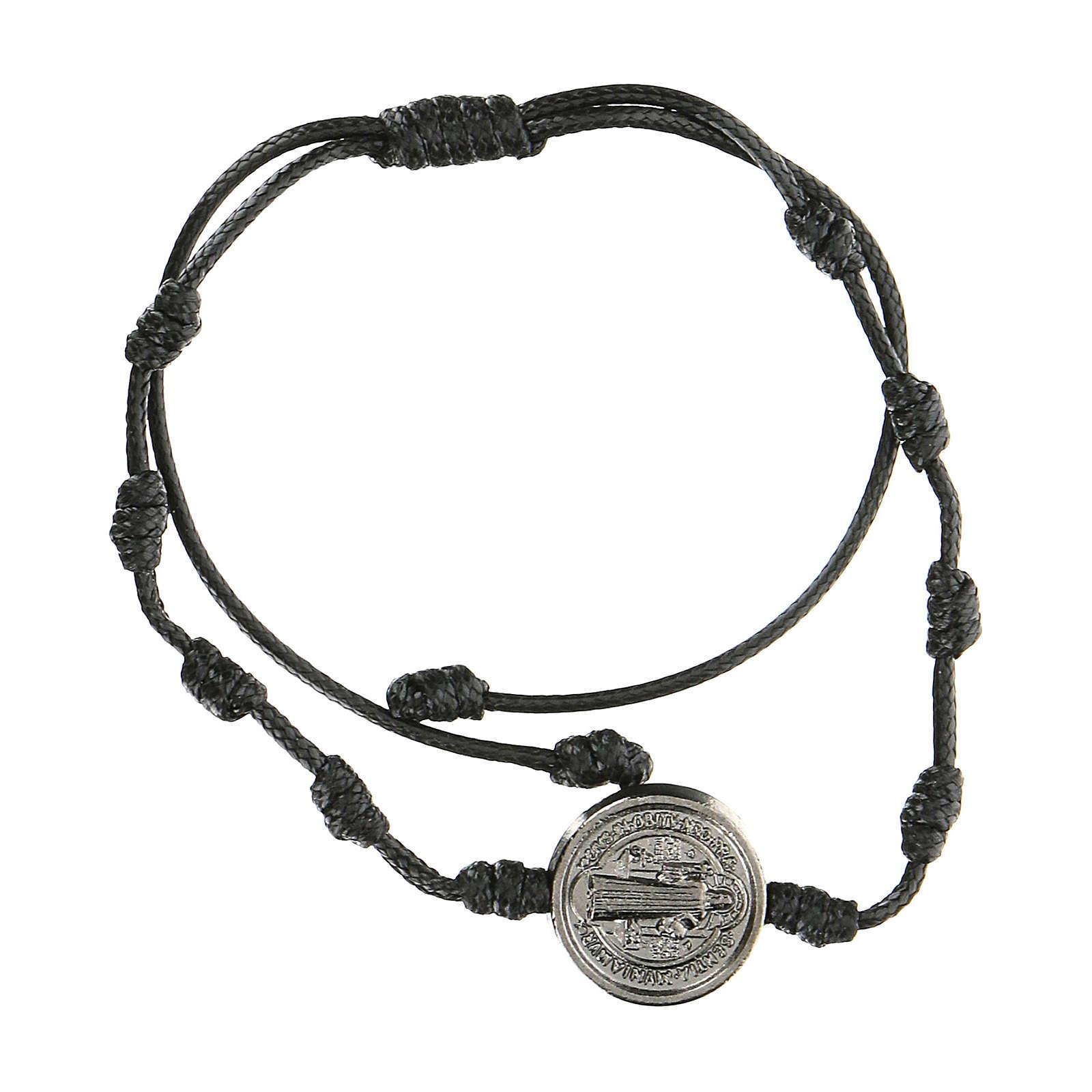 Bracelet réglable Medjugorje médaille Saint Benoît noire 4