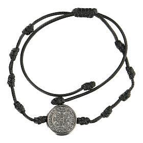 Bracelet réglable Medjugorje médaille Saint Benoît noire s2