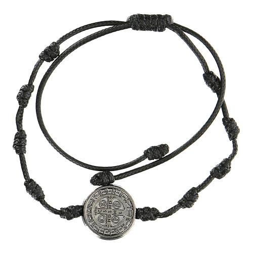 Bracelet réglable Medjugorje médaille Saint Benoît noire 2