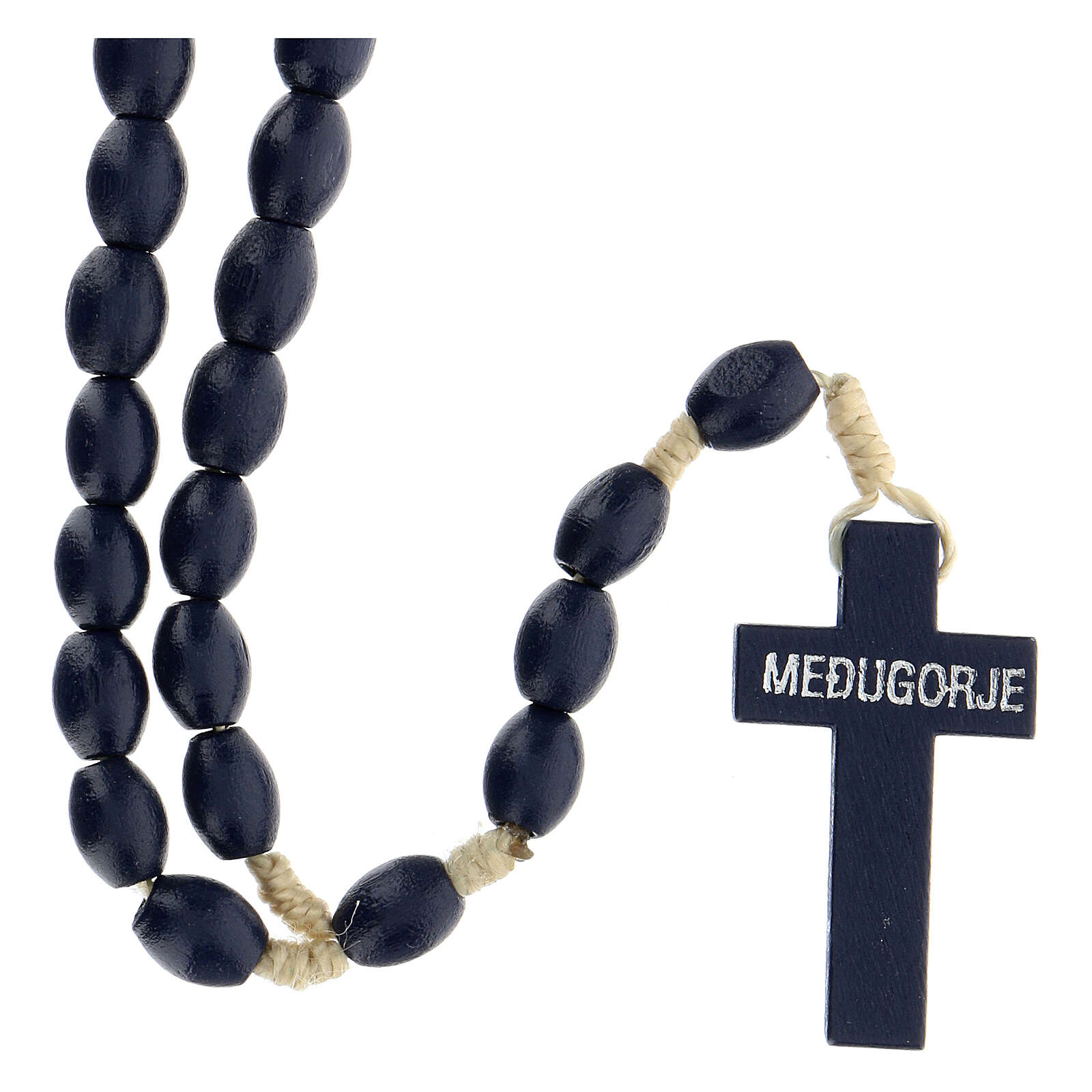 Blue wood Medjugorje rosary Chi-Rho 4