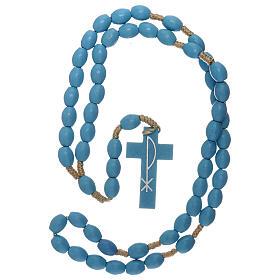 Light blue wood Medjugorje rosary s4