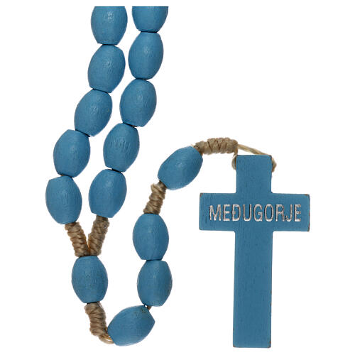 Light blue wood Medjugorje rosary 2