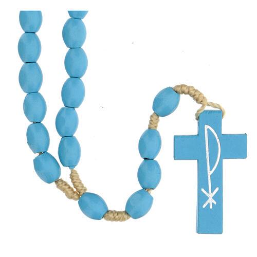 Light blue wood Medjugorje rosary 5