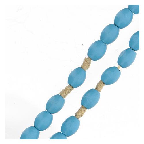 Light blue wood Medjugorje rosary 7