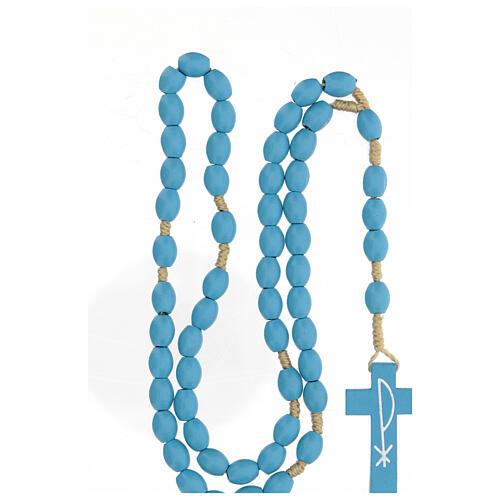 Light blue wood Medjugorje rosary 8