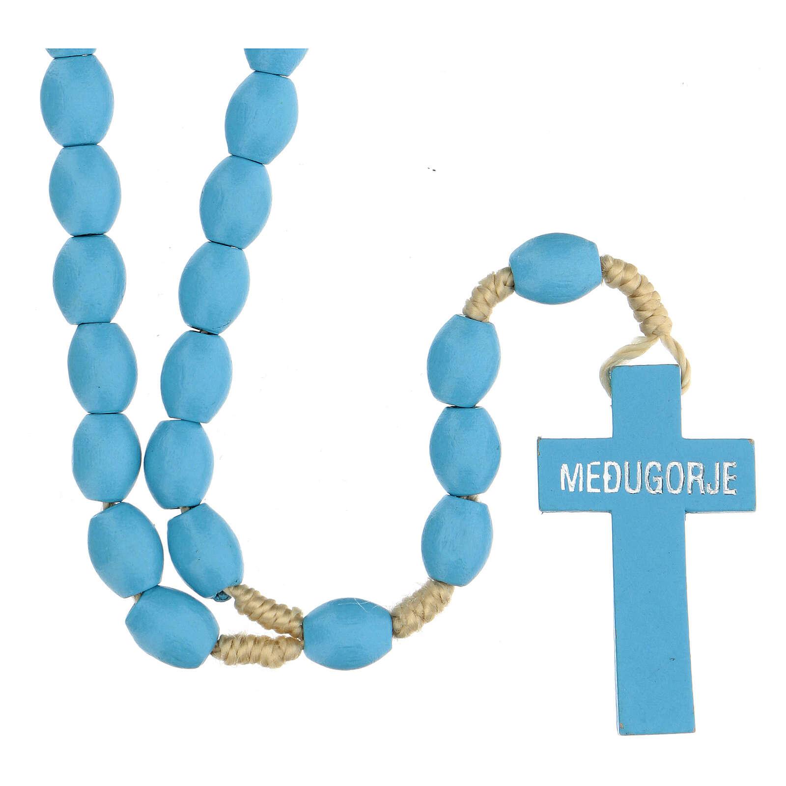 Chapelet grains bois bleu clair Medjugorje 4