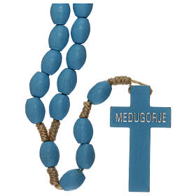 Chapelet grains bois bleu clair Medjugorje s2