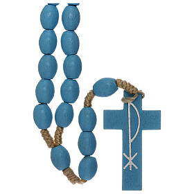 Rosario grani legno azzurro Medjugorje s1