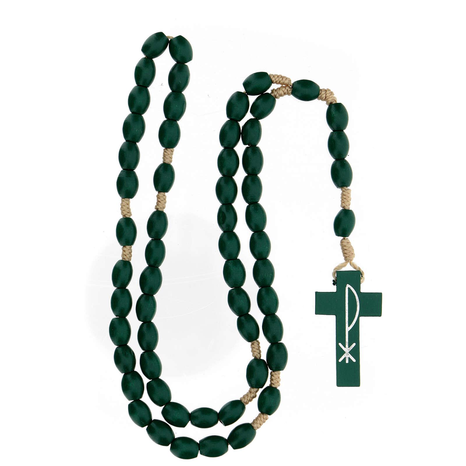 Green wood Medjugorje rosary 4
