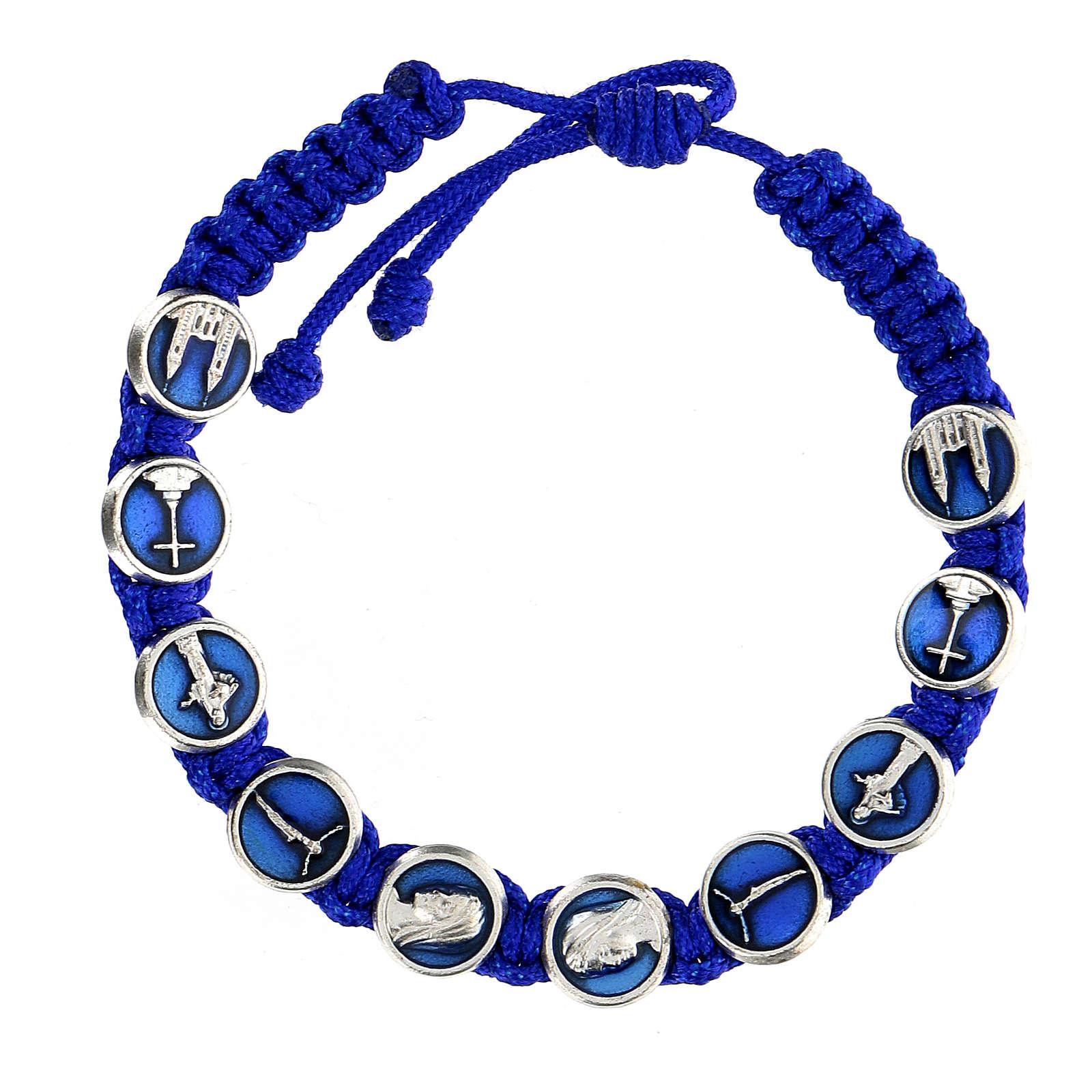Bracciale corda simboli Medjugorje smalto 4