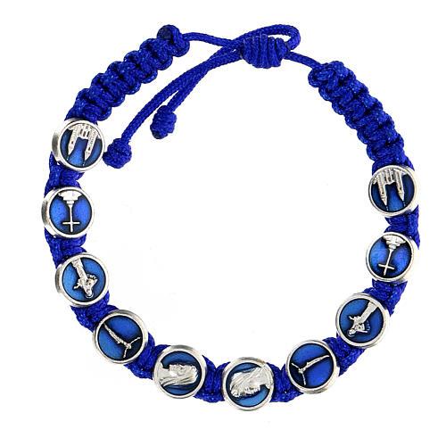 Bracciale corda simboli Medjugorje smalto 1