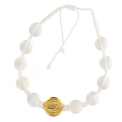 Bracelet dizainier pierre polie Medjugorje Saint Benoît blanc or 1