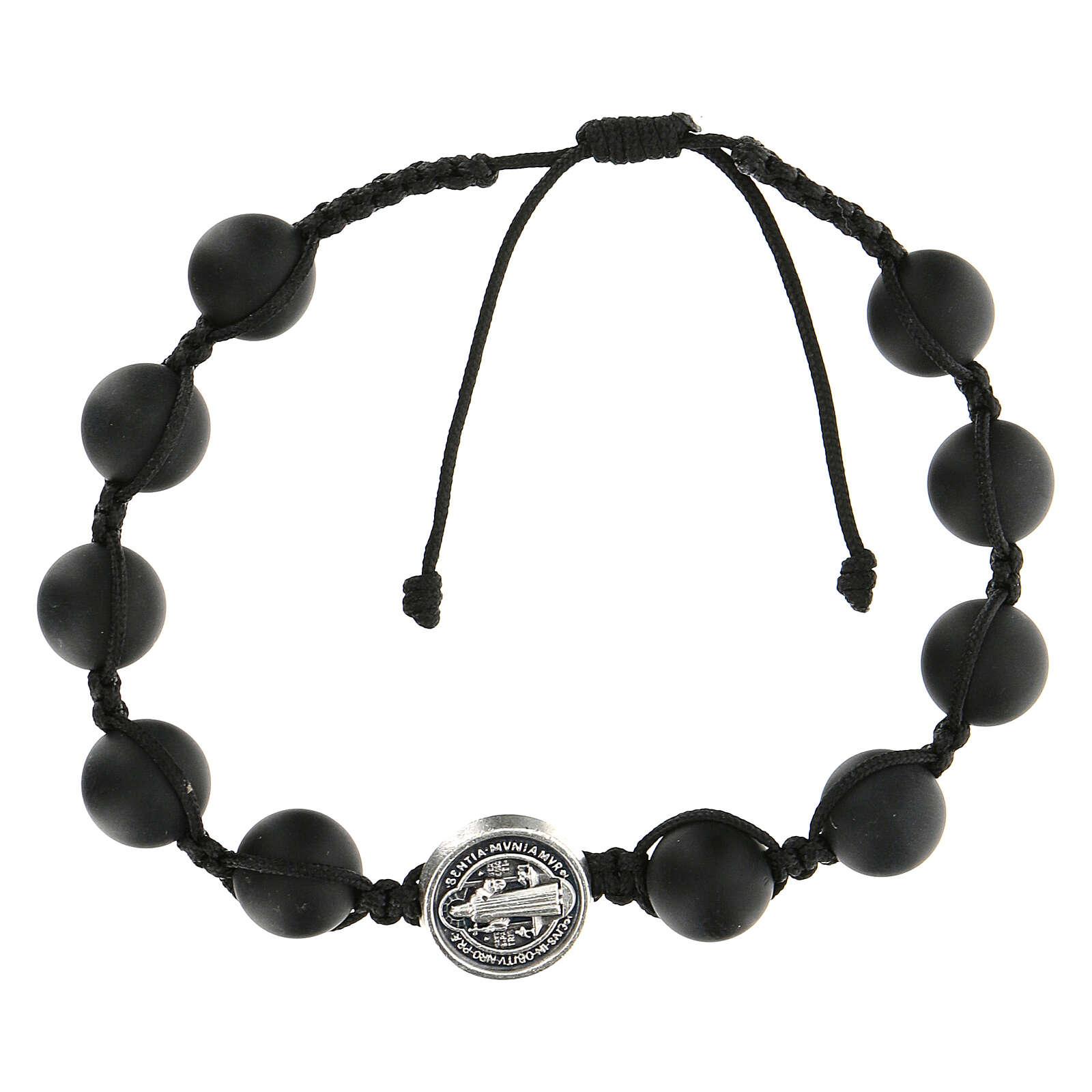 Bracelet grains noirs Medjugorje pierre polie Saint Benoît argenté 4