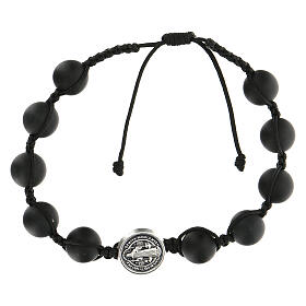 Bracelet grains noirs Medjugorje pierre polie Saint Benoît argenté s1