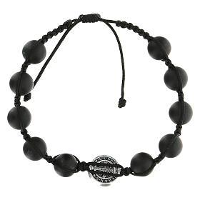 Bracelet grains noirs Medjugorje pierre polie Saint Benoît argenté s2